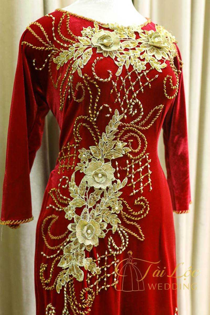 Áo Dài Bà Sui Màu Đỏ Đô Hoa Vàng