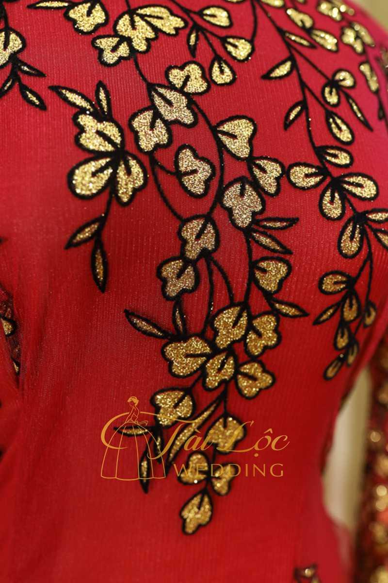 Áo Dài Bài Sui Màu Đỏ Lá Vàng