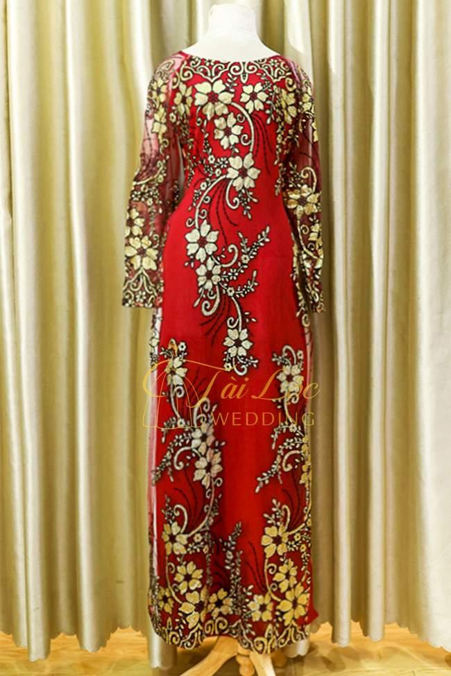 Áo Dài Bà Sui Màu Đỏ Ren Hoa Hồng