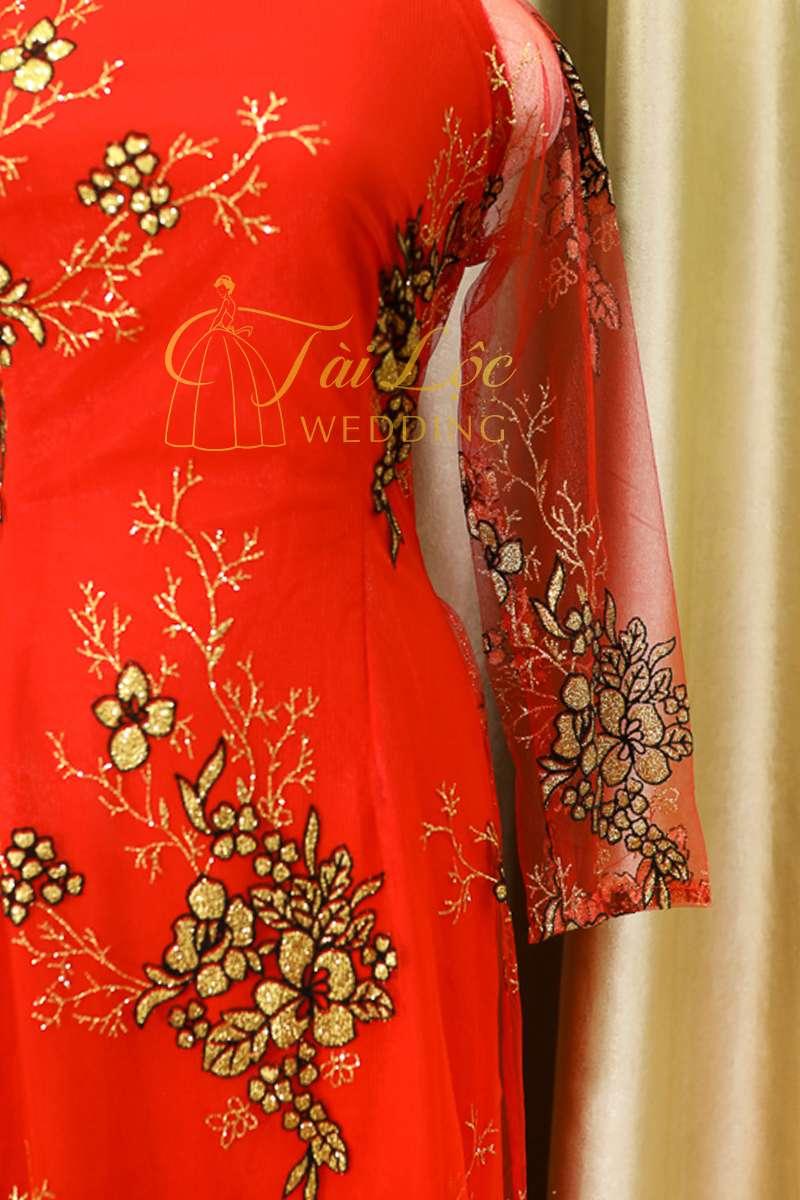 Áo Dài Bà Sui Màu Đỏ Tươi Hoa