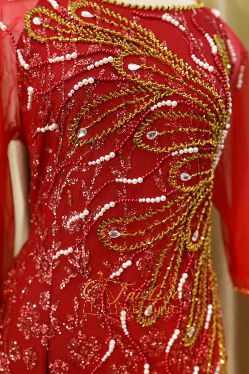 Áo Dài Bà Sui Màu Đỏ Vải Ren 6 Tà