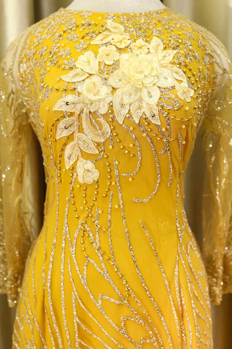 Áo Dài Bà Sui Màu Vàng Cườm Sợi Hoa