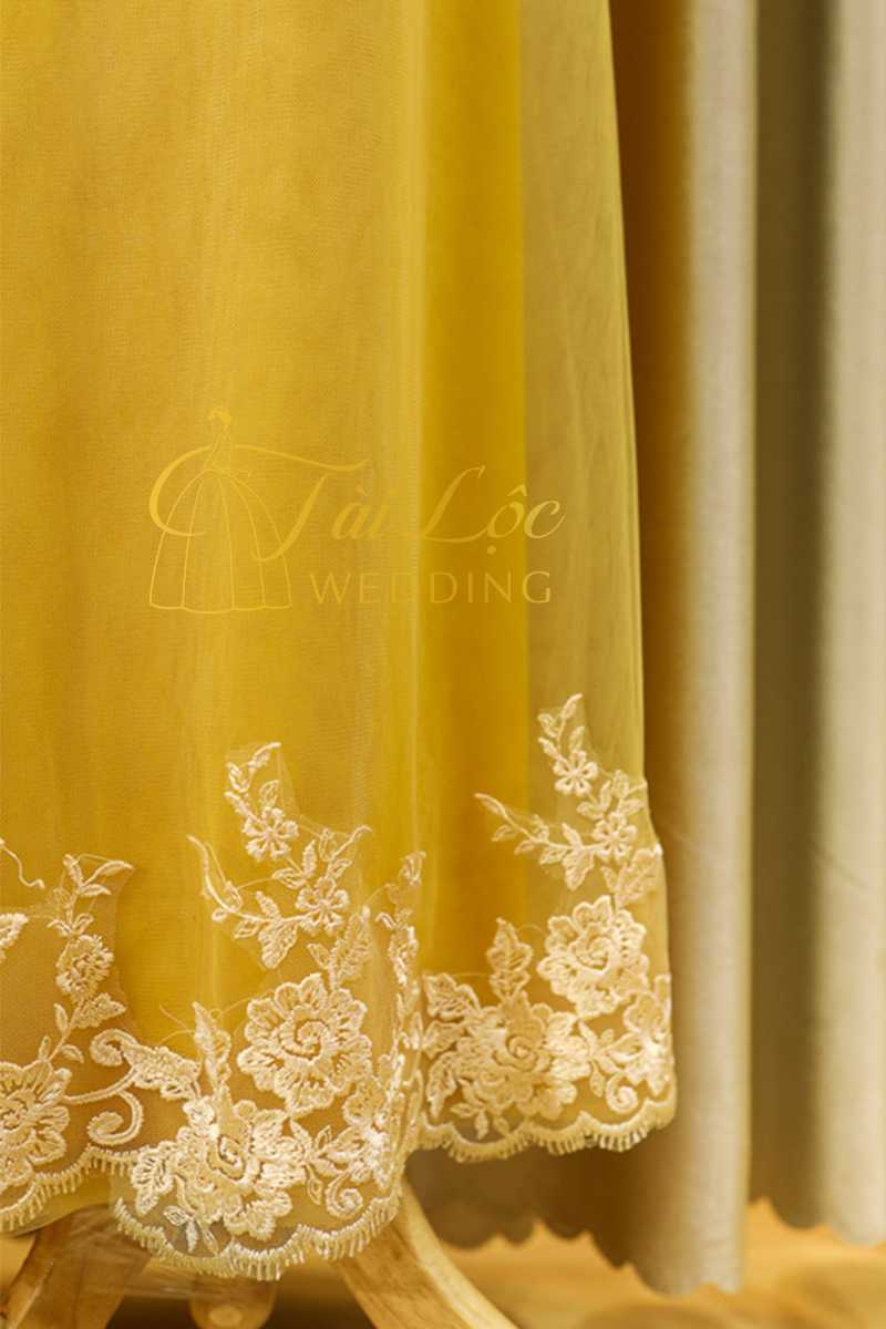 Áo Dài Bà Sui Màu Vàng Vải Ren Cao Cấp