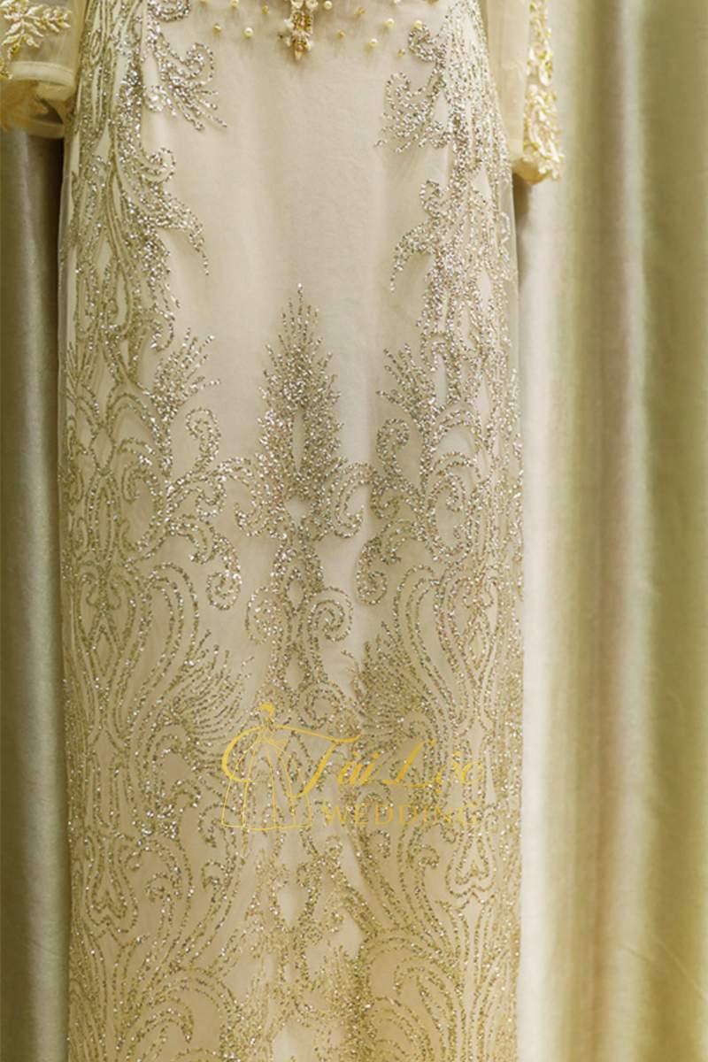 Áo Dài Bà Sui Màu Vàng Vải Ren Sang Trọng
