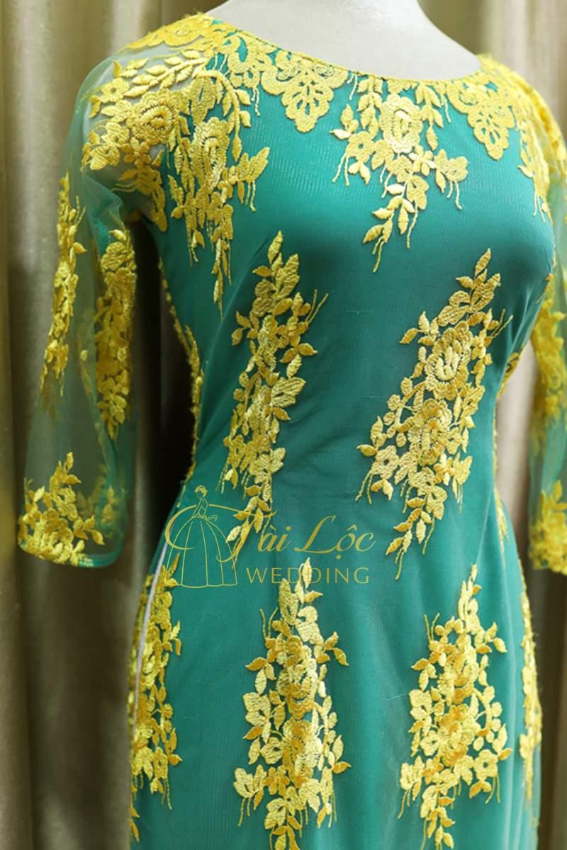 Áo Dài Bà Sui Màu Xanh Ren Vàng
