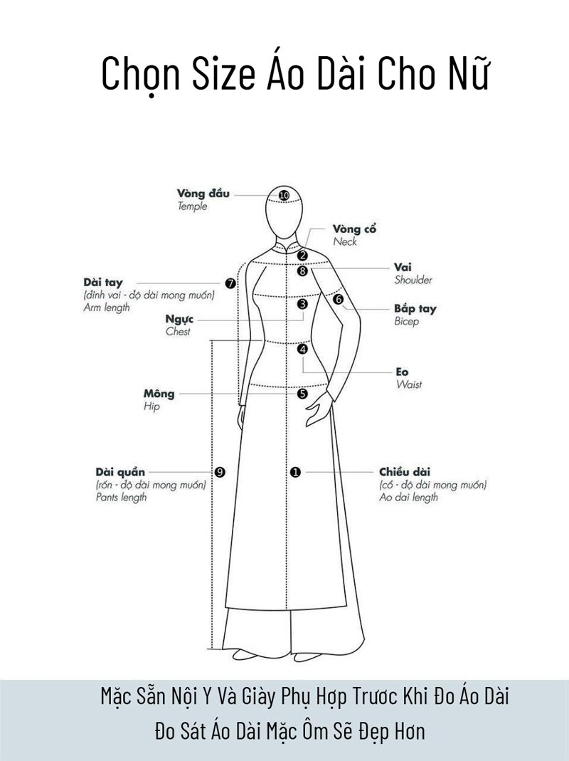Cách chọn size áo dài nữ