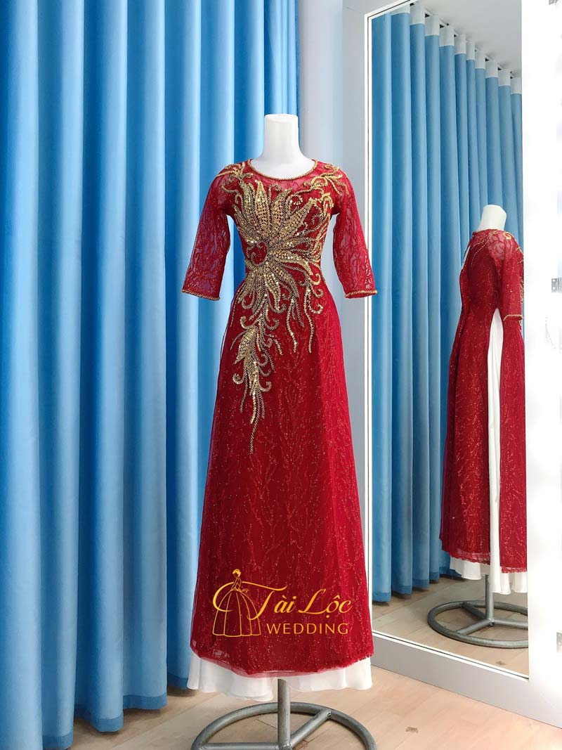 Áo Dài Bà Sui Màu Đỏ Vải Ren Hoa Cao Cấp