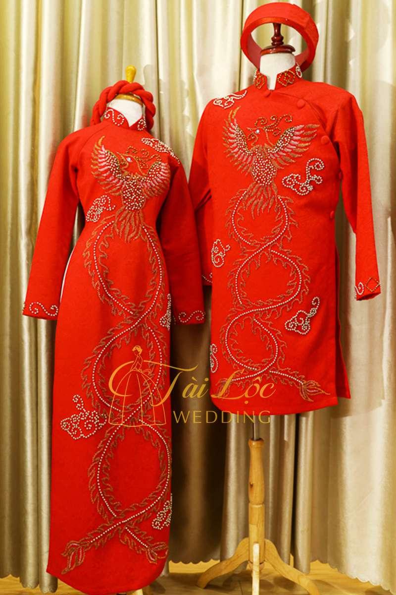Áo Dài Cưới Cặp Cô Dâu Chú Rể Màu Đỏ Vải Gấm Phượng